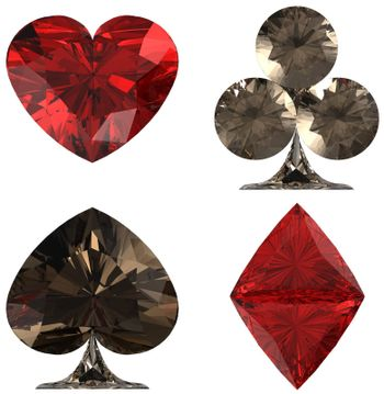 Colored Diamond shaped Card Suits on white