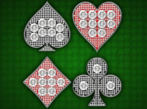 Diamond Card Suits over green