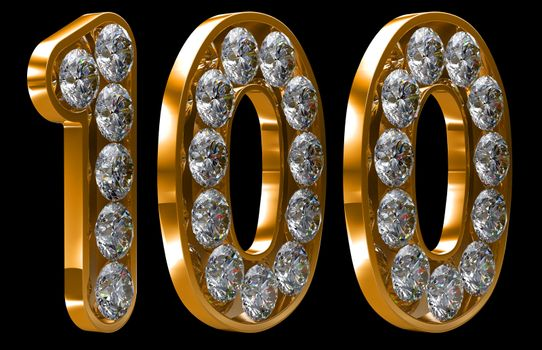 Golden 100 numeral incrusted with diamonds