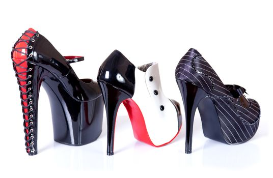 Row of sexy female shoes