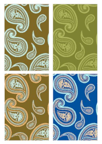 Set of vector seamless paisley colorful backgrounds