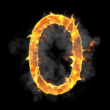 Burning and flame font 0 numeral