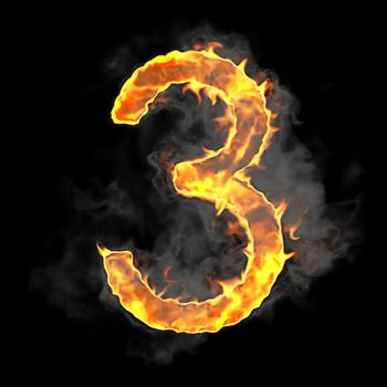 Burning and flame font 3 numeral