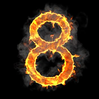 Burning and flame font 8 numeral