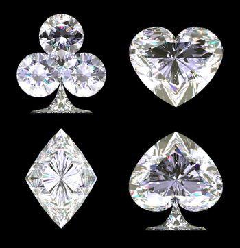 Sparkling Diamond shaped Card Suits