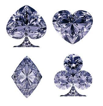 Blue Diamond shaped Card Suits
