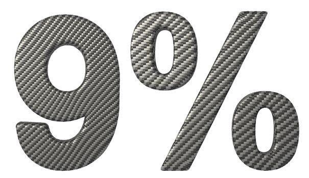Carbon fiber font 9 numeral and percent