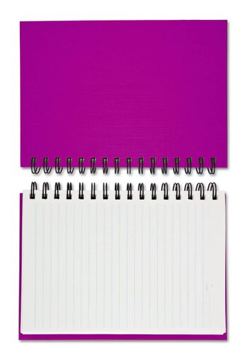 purple Blank Note Book on white background