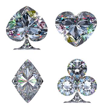 Colorful Diamond shaped Card Suits