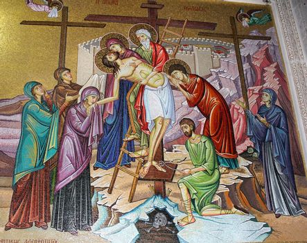 mosaics in the church of the Holy Sepulcher, the withdrawal from the cross of Jesus Christ , Jerusalem