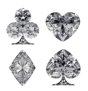 Diamond shaped Card Suits isolated