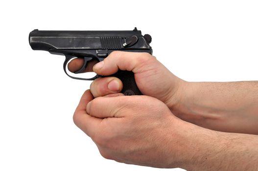 pistol in hands