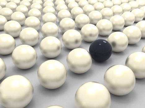 Black extraordinary pearl among white ones