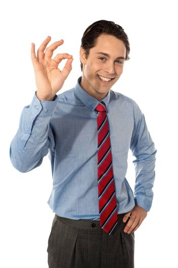 Male executive gesturing great ok sign, smiling at camera