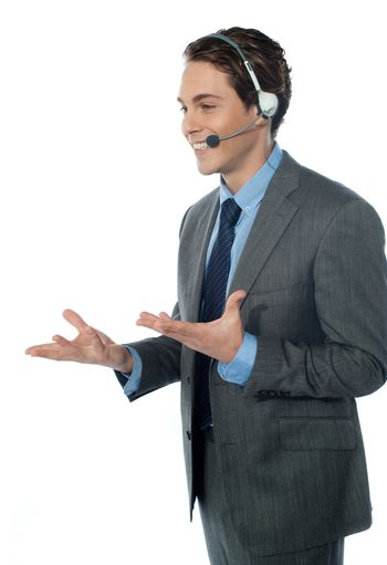 A customer support operator with a headset isolated on white