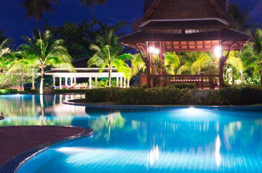 pool in night illumination