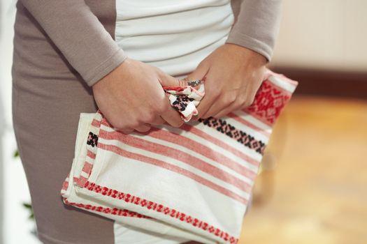 Slavic embroidered towel