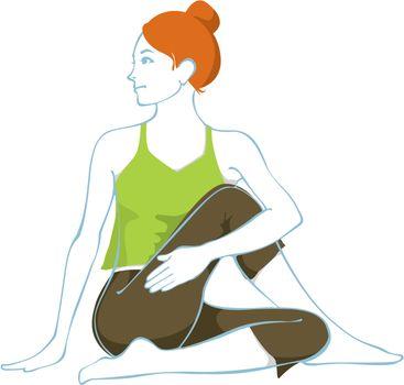 A hatha yoga asana in vector.