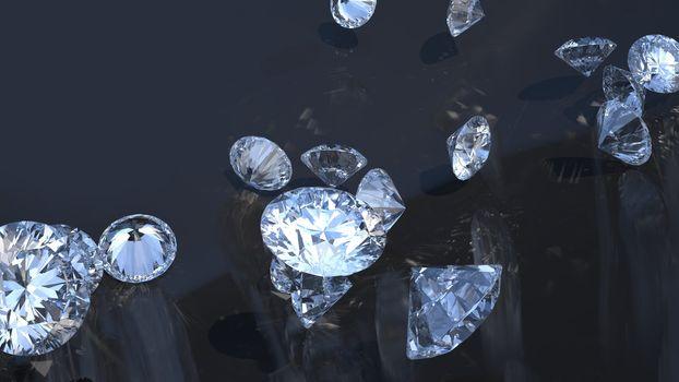 Precious gems: group of diamonds rolling over