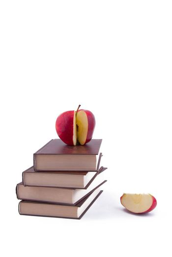 The tower of the books with apple
