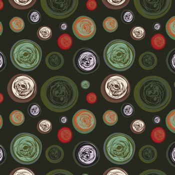 Dark seamless background with abstract circles, vector, illustration