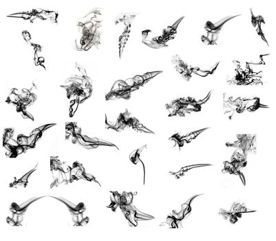 Collage of more than 25 black abstract smoke curves