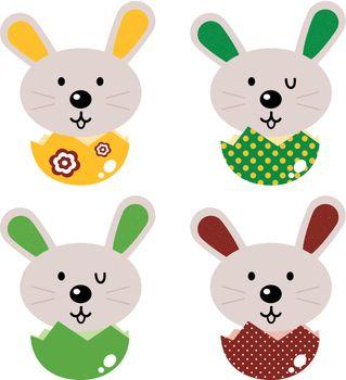 Little bunnies set. Vector cartoon Illustration
