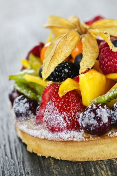Mixed tropical fruit tart