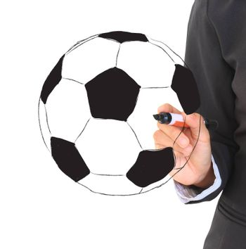 soccer football ball and hand with pen isolated on white background