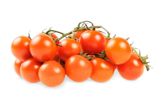 Bunch of cherry tomatoes on a white background.