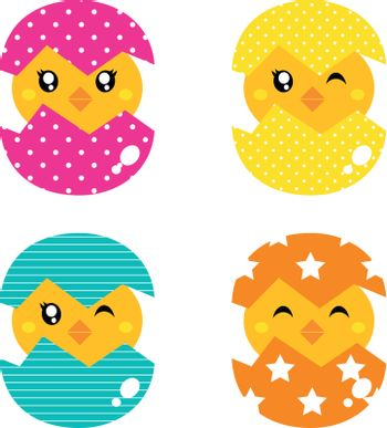 Cute collection of spring chicken in eggs. Vector
