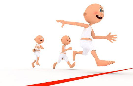 Toon guys running, team leader