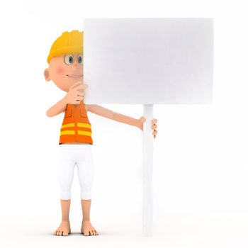 Toon builder holding a blank white board