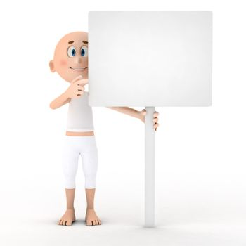 Toon guy holding a blank white board