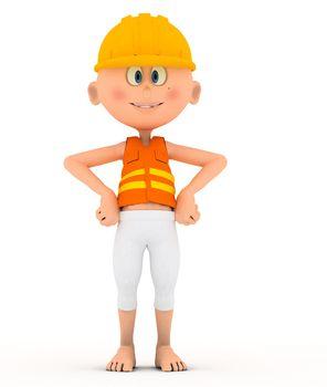 Toon builder, worker standing pose.