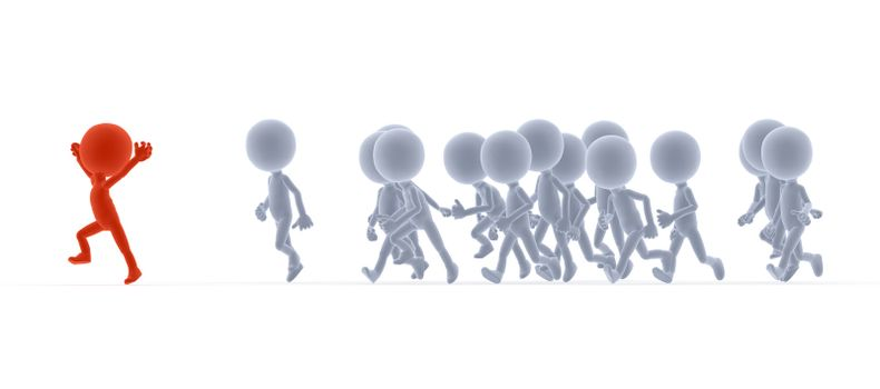 Toon people running, competition concepts