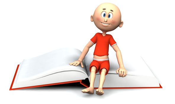 Toon guy sitting on a book