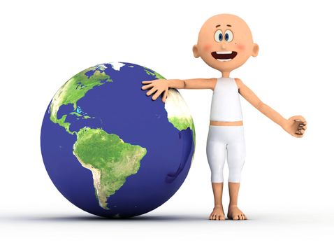 Toon guy and the earth.