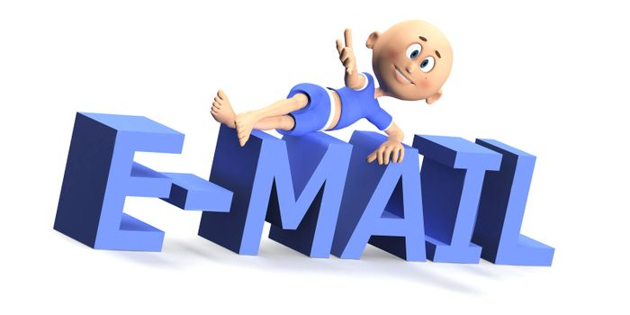 E-mail text and a toon guy