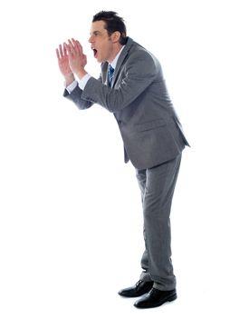 Annoyed executive shouting, isolated