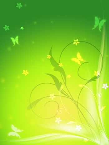 abstract spring background with butterflys and flowers