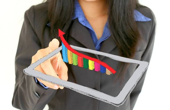 successful business woman holding tablet pc with a graph