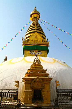 Stupa of the swayambhunath temple with blue sky in kathmandu, Ne