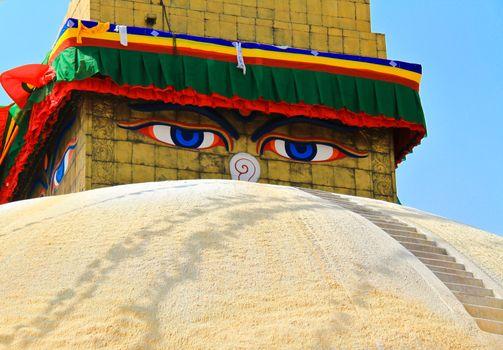 Boudhanath Stupa with blue sky in Kathmandu, Nepal