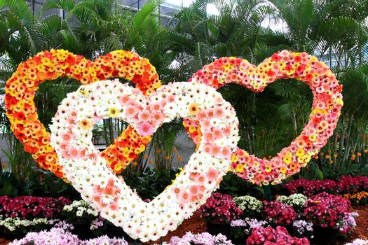Three Heart made of flowers