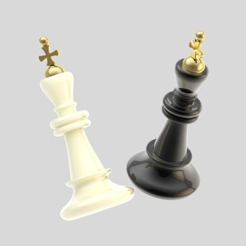Contest and competition: two glossy black and white king figures isolated on white as a duel