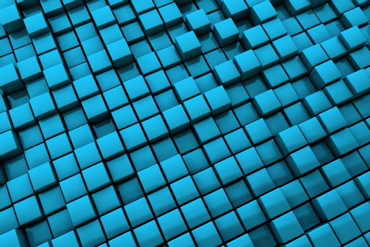 Abstract Blue Cubes Background - Medium Distance