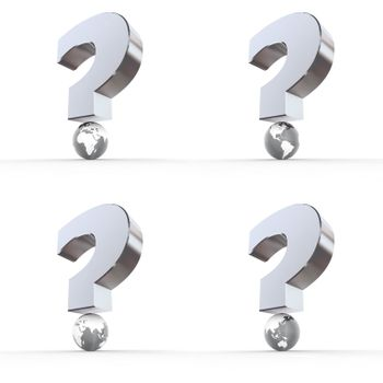 Question Mark with Globe - Four Views on Earth