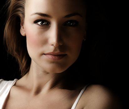 Glamor woman dark face portrait
