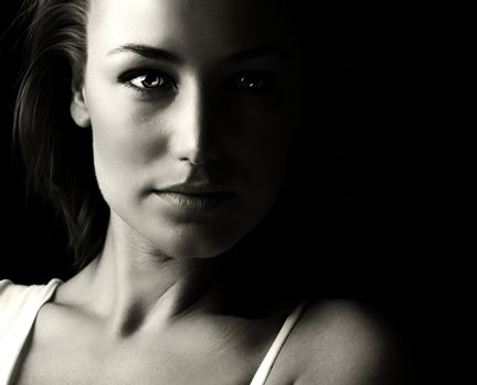 Black and white glamor woman portrait